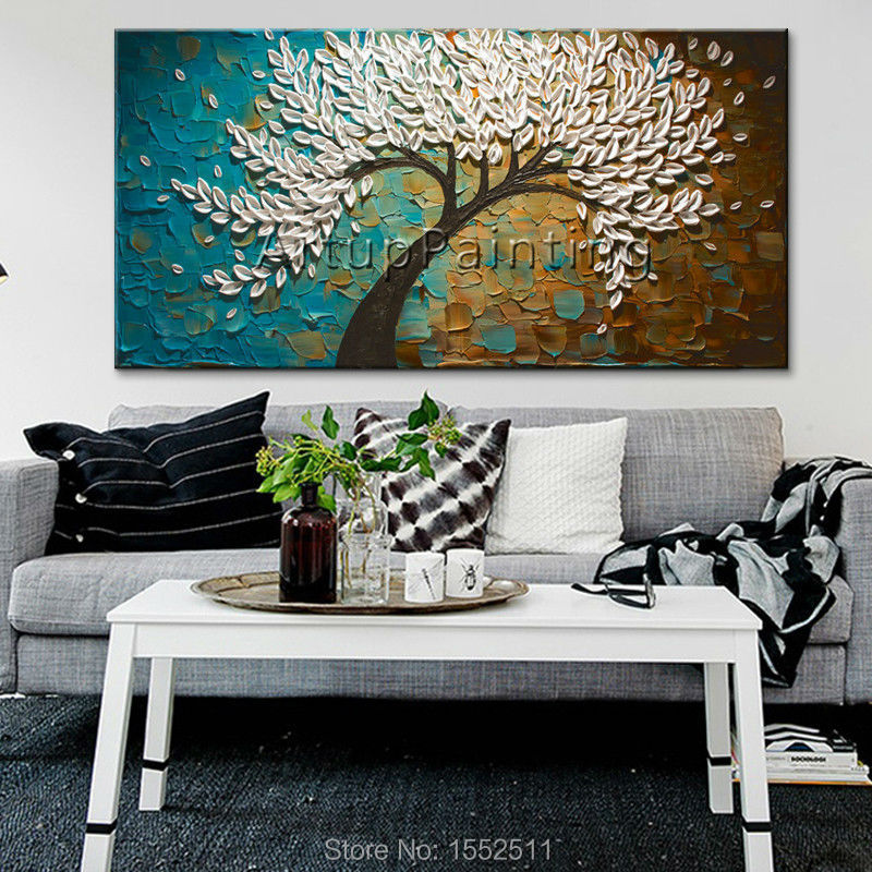3D texture flowers Hand Painted Canvas Abstract Oil Painting Wall ...