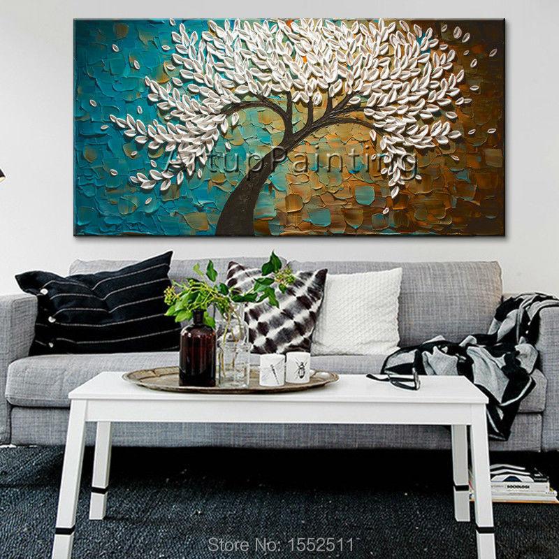 Platno Slikanje paleta nož 3D tekstura akril Cvet zlato drevo Zid - Dekor za dom - Fotografija 3