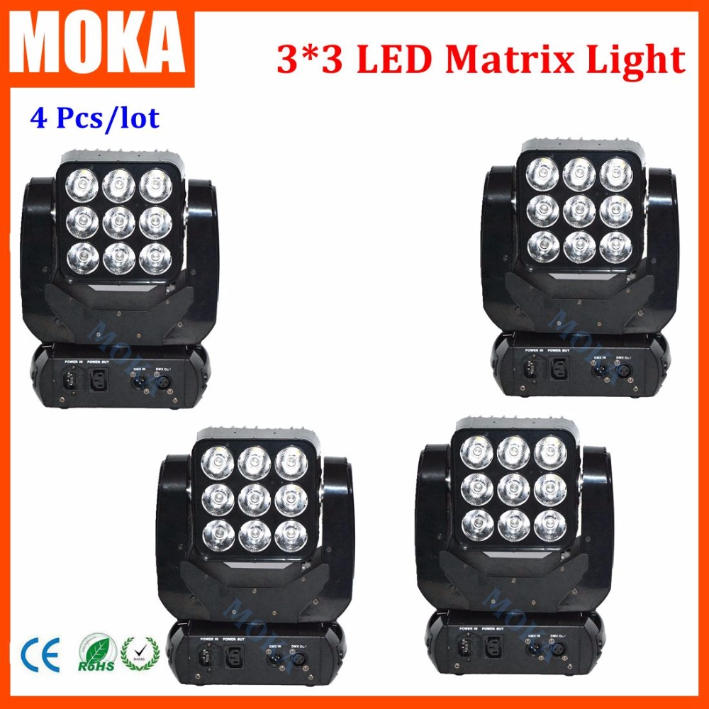 4PCS/LOT Professional 9*10w Stage And Dj Disco 3*3 Led Head Matrix Moving Light for Cerebration Entertainment Special Event