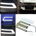 2 Pcs Auto Car Brilhante Gelo Azul COB LED DRL Farol de Circulação Diurna Luz de Nevoeiro À Prova D' Água Em Forma de U