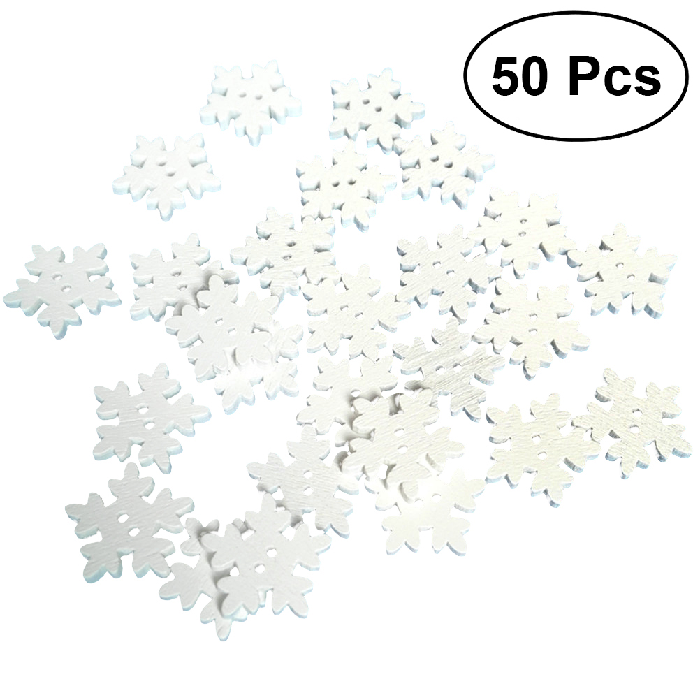 50pcs Christmas Holiday Wooden Collection Snowflakes Buttons Snowflakes Embellishments 18mm Creative Decoration Home & Garden