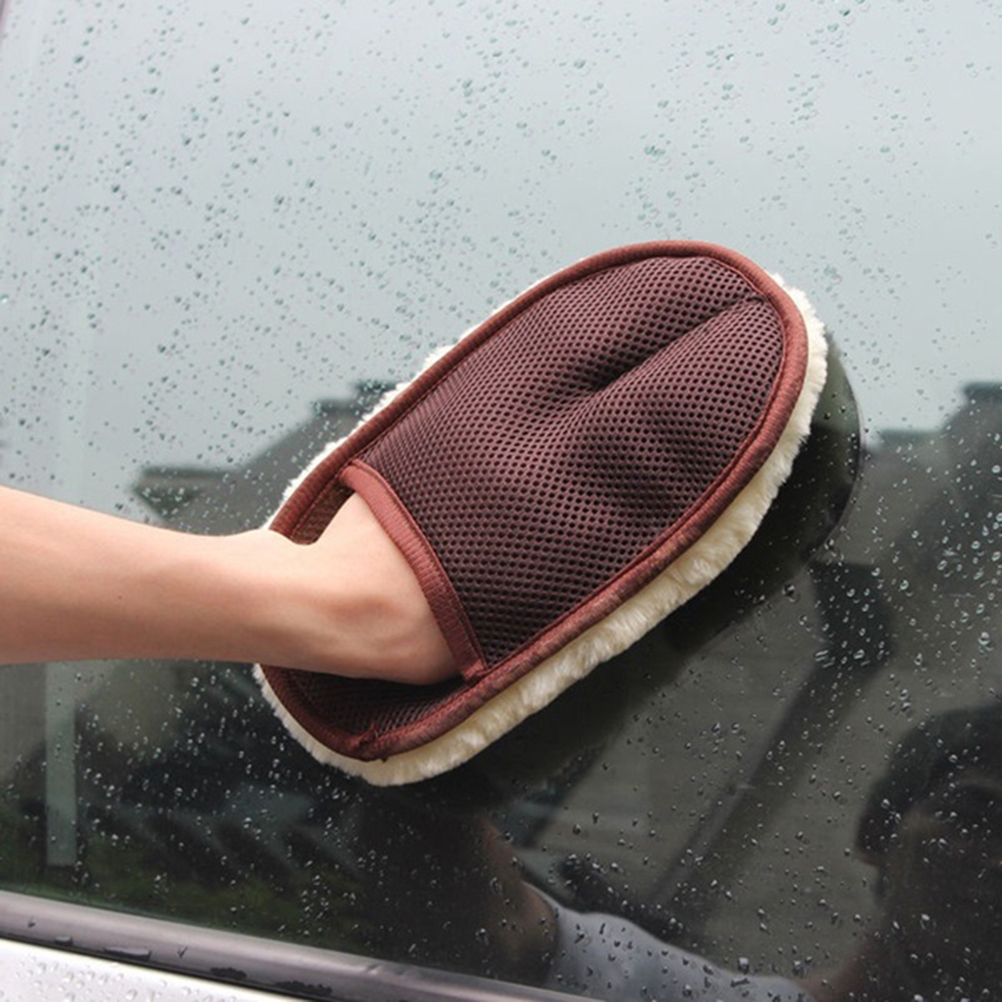 JETTING Car Window Cleaning Cloth Wool Glove Wash Cleaning Supplies For Car Accessories Microfiber Car Wash Beige Color