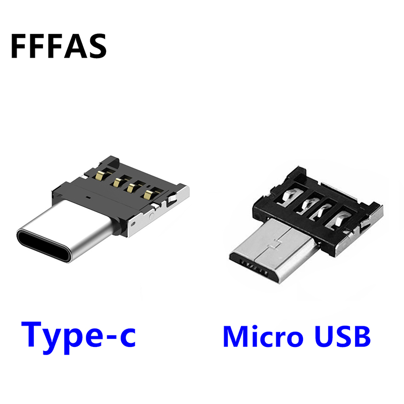 FFFAS Android Micro USB Type-c OTG Cable Connector Adapter Type C Converter for Mobile Phone USB Flash Drive Card Reader Mini new portable mini design charming 3 in 1 card reader usb type c micro usb 3 0 tf sd card reader support type c otg card reader