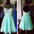 Charming Prom Dresses Short Junior Pageant Dresses Illusion Neck Back Open Beaded Crystal Turquoise Short Evening Dress