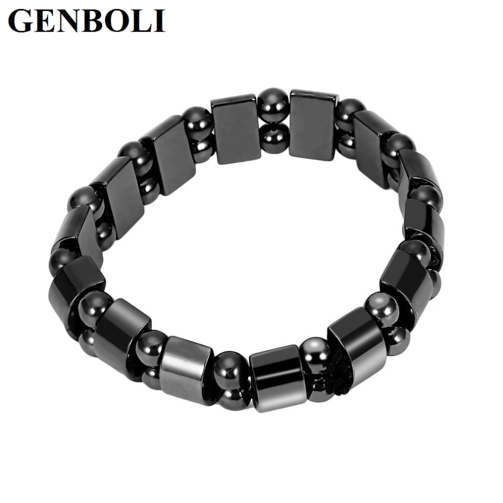 GENBOLI Black Stone Magnetic Hematite Male Bracelet For Women Weight Loss Healthy Care Therapy Bracelets Men Fashion Jewelry