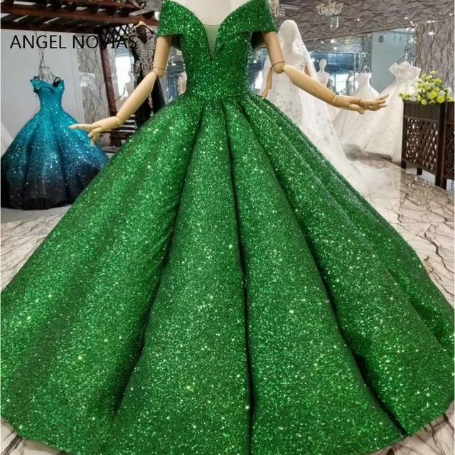 New Arrival Ball Gown Puffy Green Sequin Lace Abendkleider Arabic Evening Dress 2019 Robe De Soiree Longue 2018 Musulman
