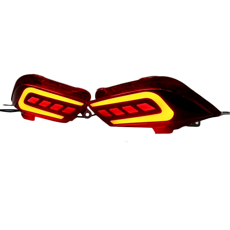 цена на For Toyota Vios 2017 Rear Bumper Lamp DRL Car Styling LED Tail light Rear Brake Lights Turn Signal Light Reflector Cover 2pcs