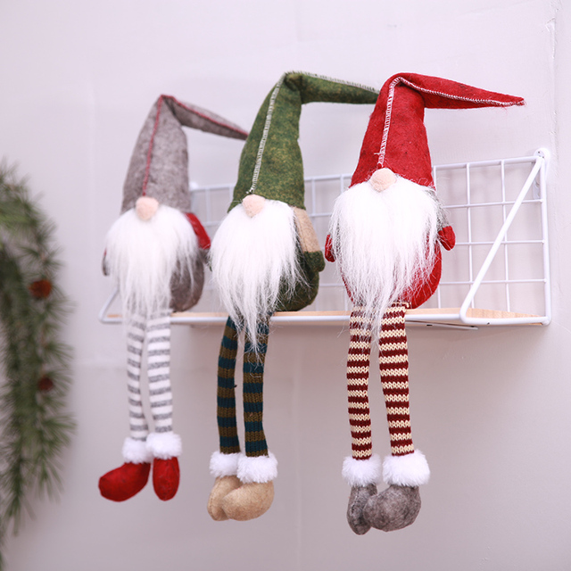 christmas cute sitting long legged santa claus doll scandinavian gnome plush christmas ornaments desktop diy