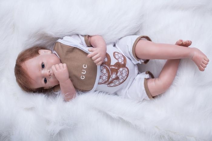 "Здесь продается  22"" Boy Vinyl Doll Toys Cloth Body Bebe Dolls Boneca Reborn Realista Child Girls Babies Toys Bonecas Christmas New Year Gifts  Игрушки и Хобби"