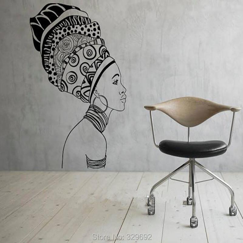 nia africana silueta frica arte de la pared sticker decal diy decoracin mural removible dormitorio decoracin