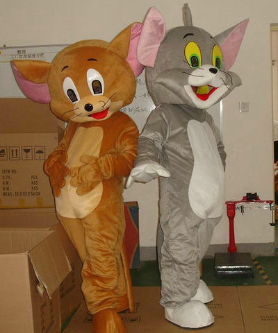 Jerry Mouse&Tom Cat Cartoon Mascot Costume/Clothing/Halloween/Reality Mouse&Tom anime/Christmas Party ...