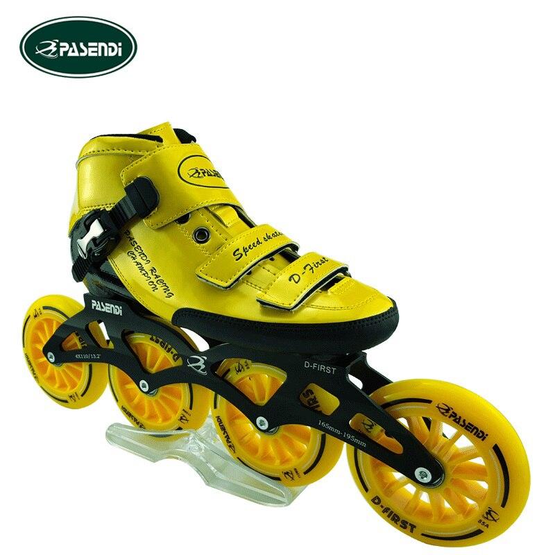 Prix pour Patines Professionnel Fiber De Verre Bottes Inline Patins à roulettes Slalom Vitesse Chaussures De Patinage Patins à roulettes 4 roues Rouleau Patins
