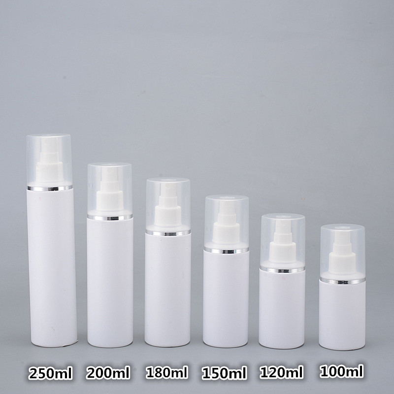30pcs 100ml 150ml 200ml 250ml HDPE white spray bottle Empty Cosmetic Containers Refillable Perfume Mist Sprayer