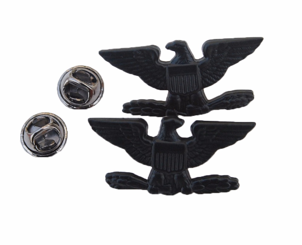 PAIR WW2 US ARMY COLONEL EAGLE WAR BIRD DEVICE PIN BADGE INSIGNIA