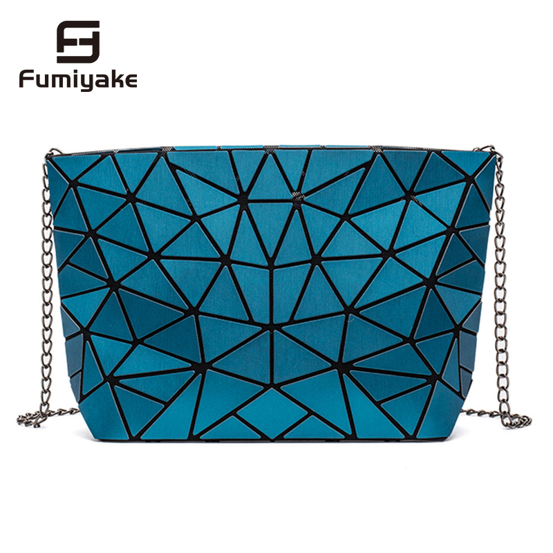New Women Chain Shoulder Bag Luminous Sac Bag Fashion Geometry Messenger Bags Plain Folding Crossbody Bags Clutch Bolso