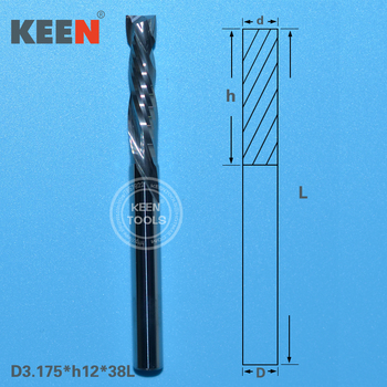 цена на Up and Down CUT 3.175*12MM Two Flutes Spiral Router Bit Tungsten Carbide Milling Cutter Tools  CNC Cutter Mill Machine Tool