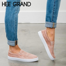 HEE GRAND Women Breathing Flats 2018 New Autumn Fashion Flats Women Causal Shoes Sneakers Slip-on Women Shoes XWD6523