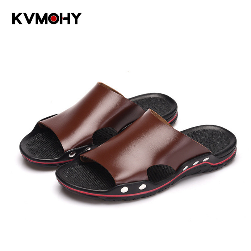 Slippers Men Shoes Fashion Beach Slippers Flat Leather Shoes Man Summer Slipper Male Brand Slides Zapatos De Mujer