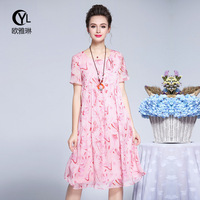 plus size Ba Lin big yards dress 2018 summer long in the new round collar female F2902511 printed chiffon dress vestidos