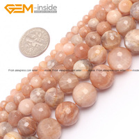 Gem-inside Natural Faceted Tiny Small Spacer Seed Sun Stone Beads For Jewelry Making Necklace 4-12mm 15inches DIY Jewellery