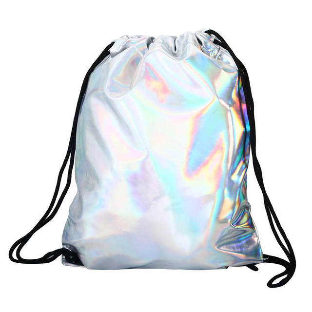 New Women PU Leather Backpack Silver Drawstring School Bag For Teenagers  Student Women's Laser Sport Bags
