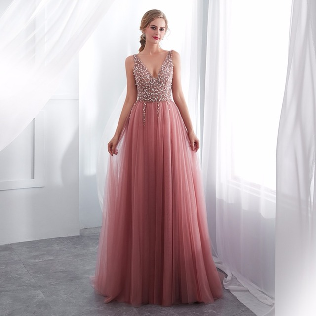 NOBLE WEISS V-neck Evening Gown Sexy Crystal Beading Split Tulle Prom Dress Floor Length Evening Dress
