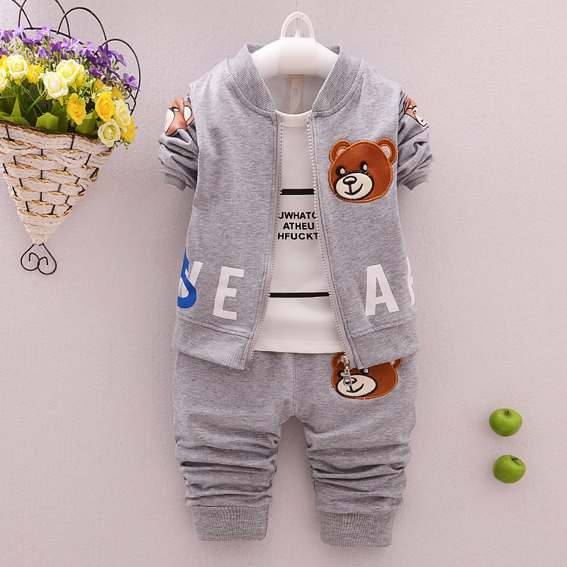 Baby Boys Girls 3 Pieces/set Clothes Sets Kids Children bear coat+T-shirts + Pants Clothing Cotton Suit 0-3Years 2016 korean style cute girl printed sets children s clothes short t shirts pants 2pcs girls clothing retial 0 4t kids coat