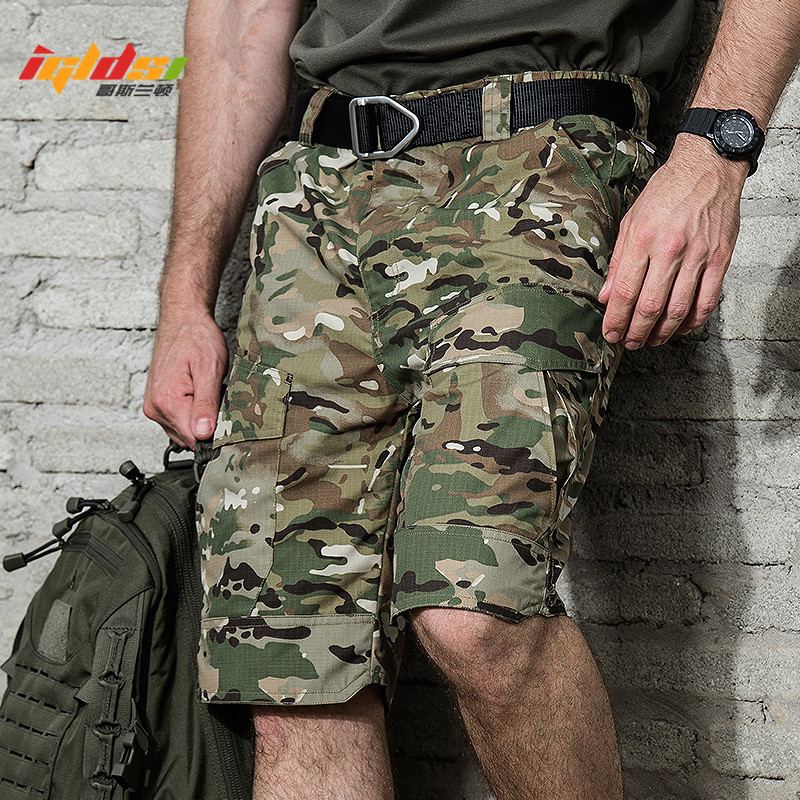 2018 New Summer Rip stop Tactical Military Shorts Men Waterproof Camouflage Cargo Shorts Casual Loose Cotton Camo Army Shorts