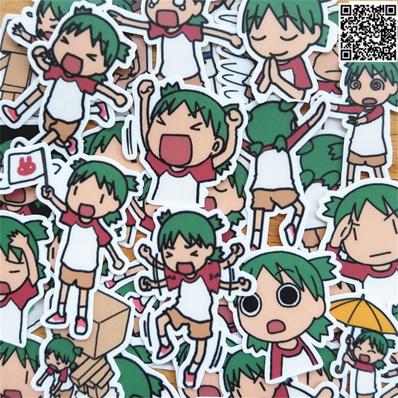 35 Pcs Green Hair Sister Paper Sticker For Luggage Skateboard Phone Laptop Moto Bicycle/Eason Stickers/DIY Scrapbooking