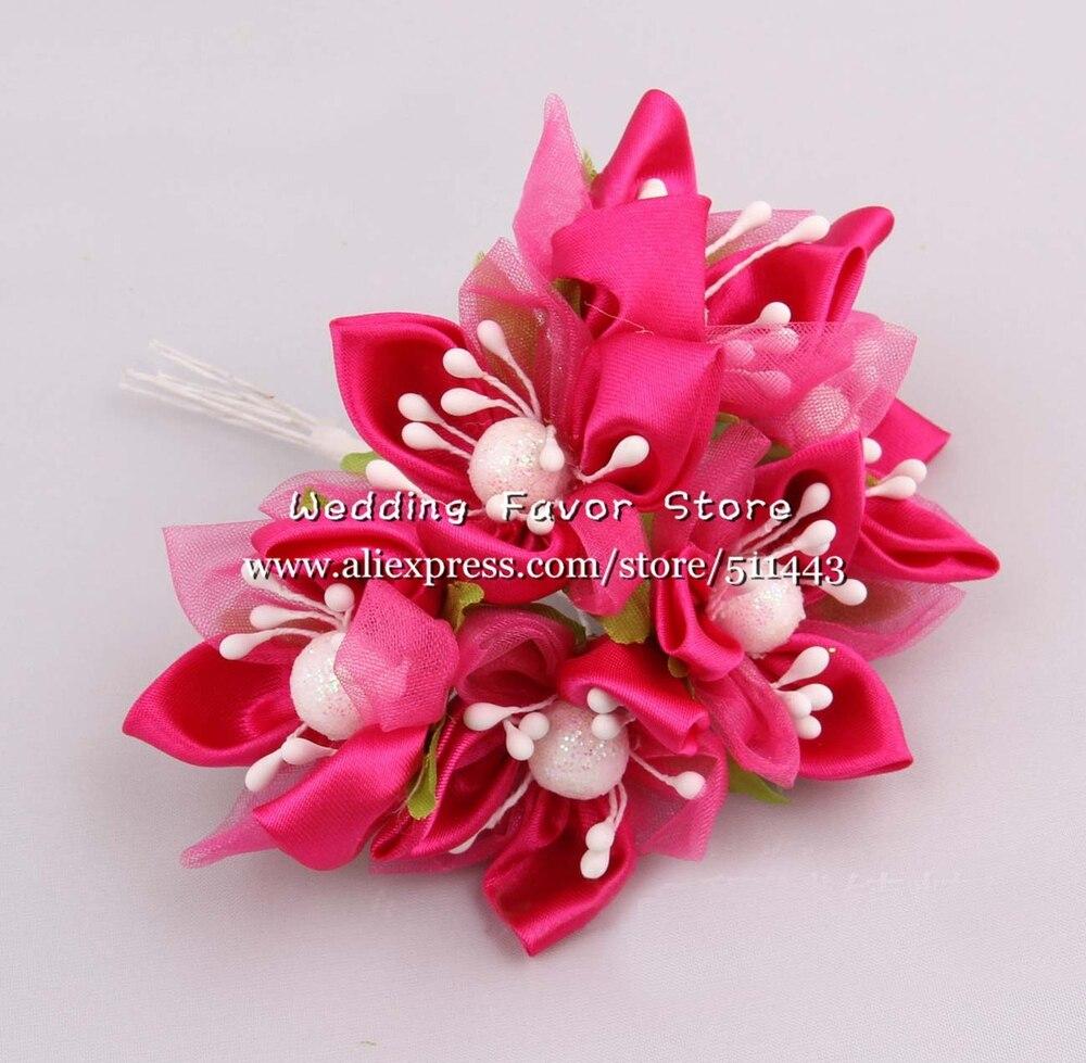 72pcs 4cm Artificial Rose Bouquet Flowers Satin Ribbon Flowers For ...