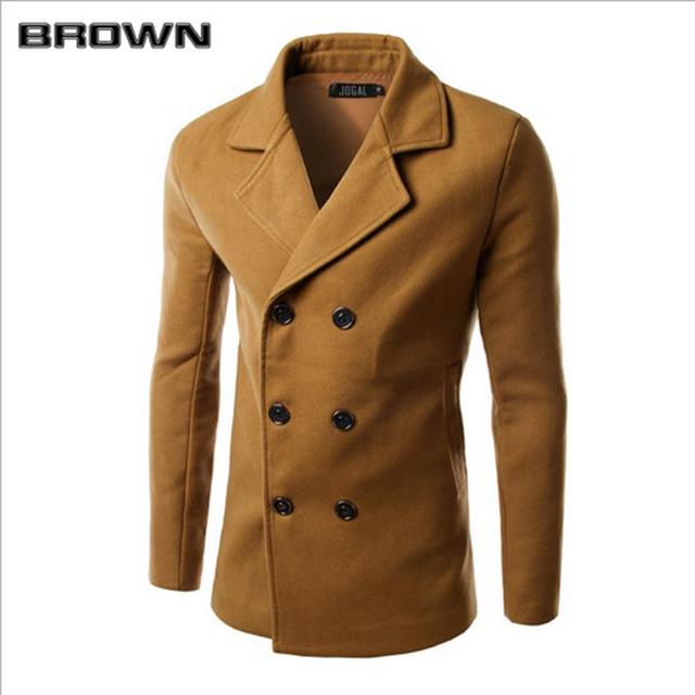Venta caliente del otoño y el invierno sólido abrigo de lana de los hombres de lana y mezclas casual slim fit doble botonadura trench coat de los hombres