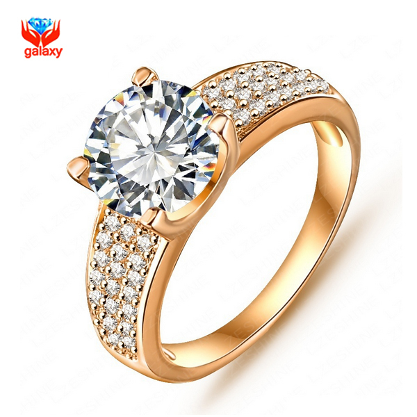 Brand Fashion Wedding Rings For Women With Gold Filled Luxury 2 Carat CZ Zircon Engagement Ring YH098