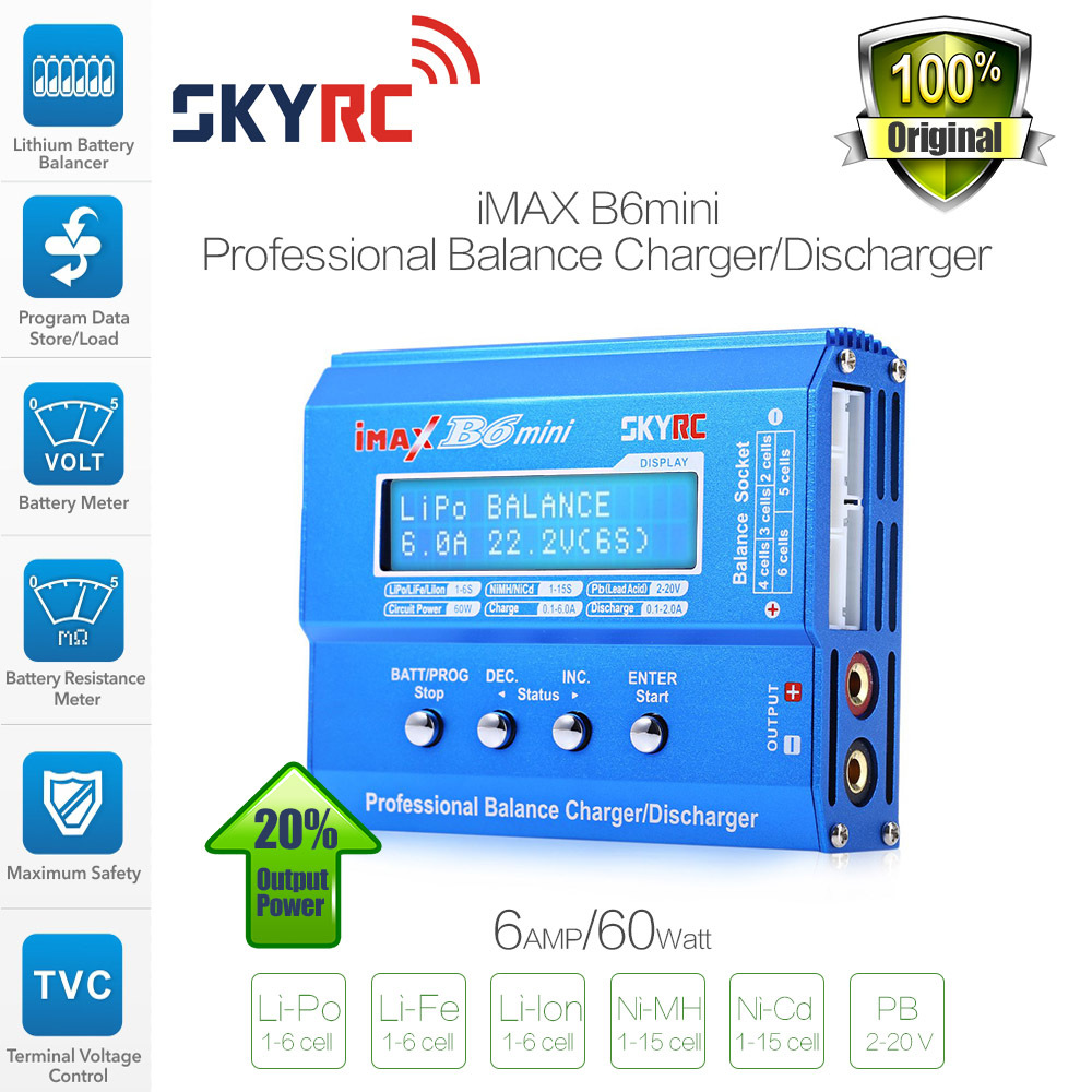 Original SKYRC IMAX B6 Mini 60W Professional Lipo Balance Charger Discharger For RC Battery Charging Re-peak Mode For NIMH/NICD original skyrc imax b6 mini professional balance charger discharger for rc battery charging sk 100084