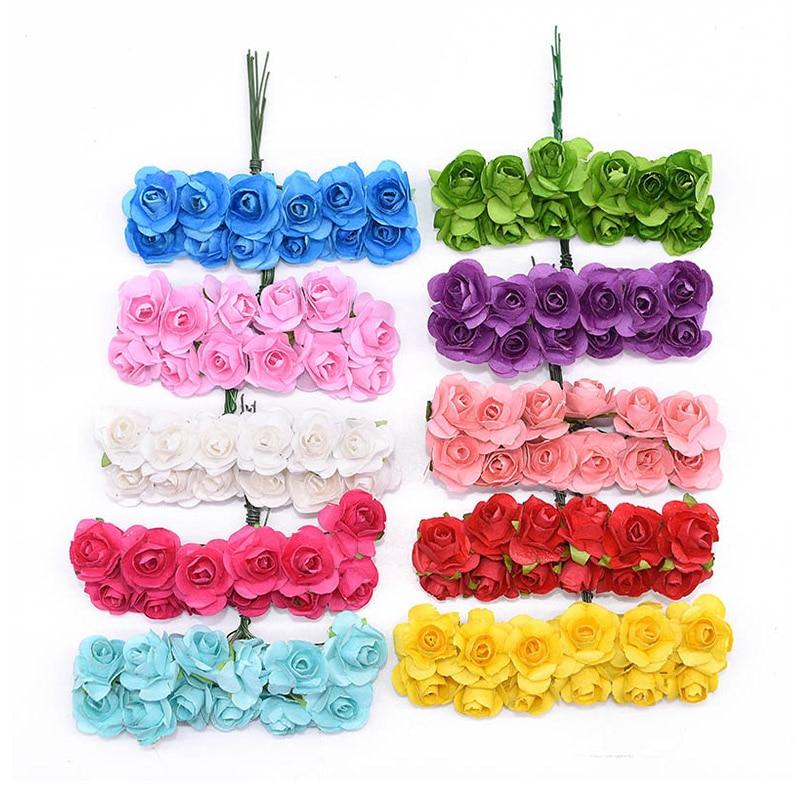 72/144pcs Artificial Flower Mini Cute Paper Rose Handmade For Wedding Decoration DIY Wreath Gift Scrapbooking Craft Fake Flower