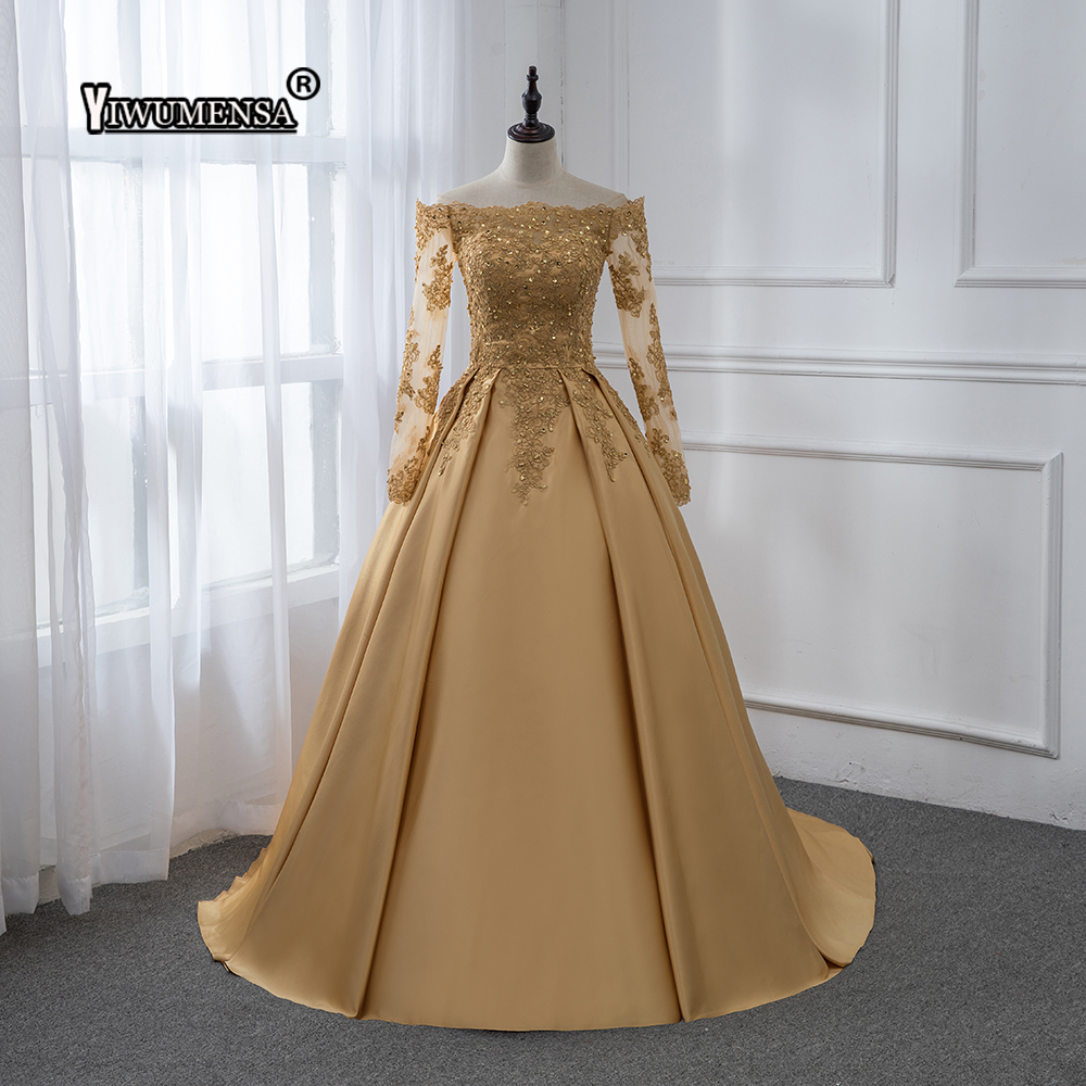 Robe De Bal Longue Gold Satin Prom dress Long 2018 Long Sleeves Appliques Beaded Prom dresses
