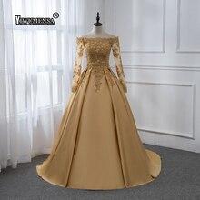Длинное Золотое сатиновое платье для выпускного вечера с длинным рукавом, аппликации из бисера, платья для выпускного вечера, вечерние платья на заказ