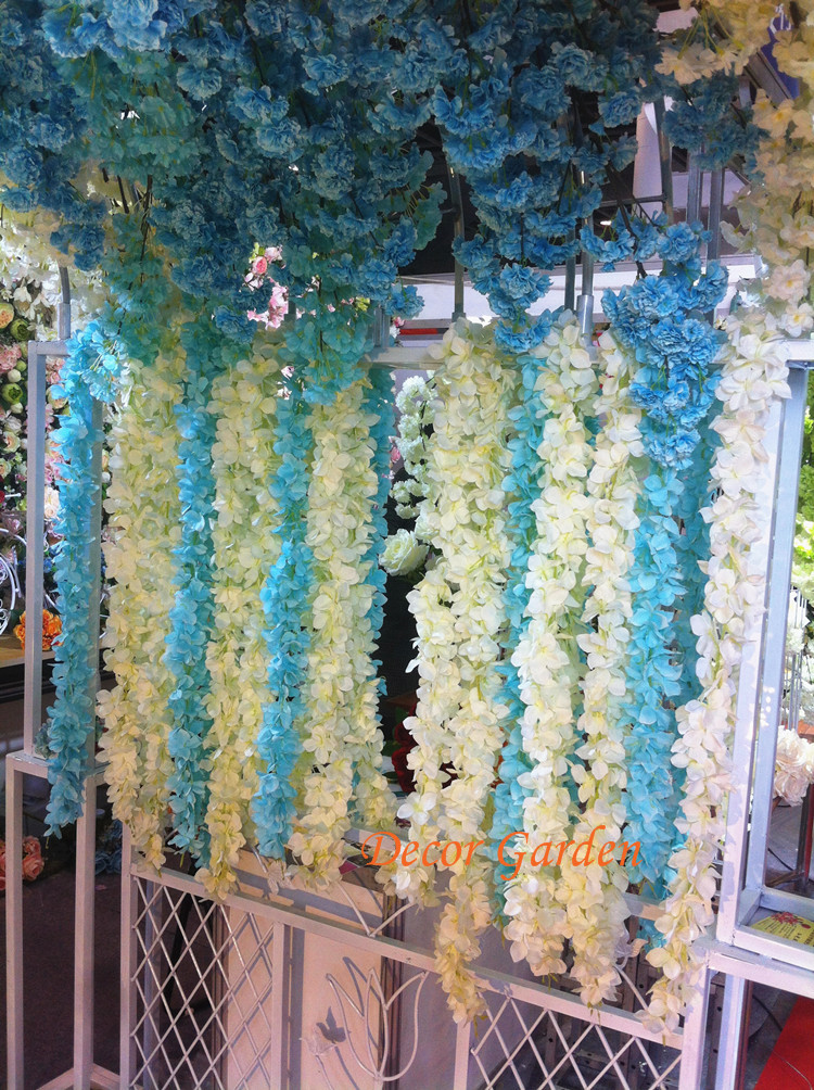 20pcs 2M 10Colors Artificial Hydrangea Wisteria Flower String For DIY Simulation Wedding Arch Square Rattan Wall
