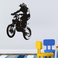 G4113 Handsome Motorcycle Creative Personality Environmentally Vinyl Wall Stickers For Kids Room Decor For Boys Gifts