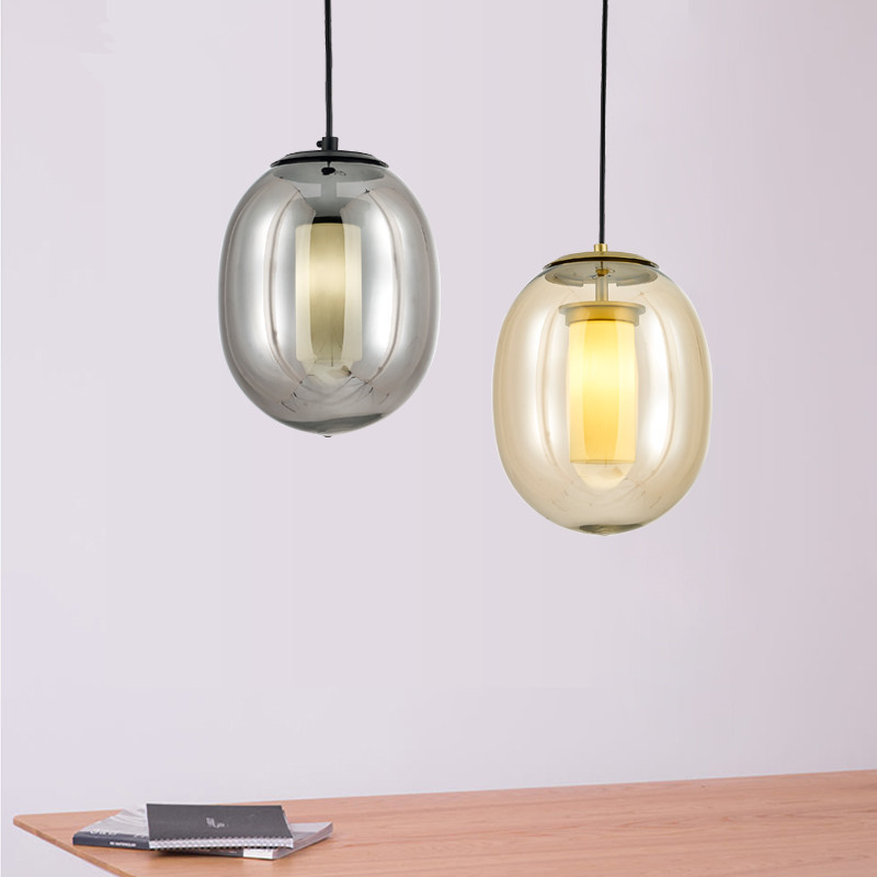 Nordic postmodern living room creative glass lampshade led pendant lamp restaurant bedroom cafe bar lamp LED G9 bulbs lamp