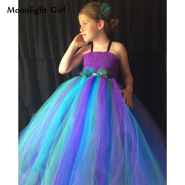 5b7c67339 Formal Girls Peacock Dress Feathers Purple Princess Flower Girl Tutu Dress  For Wedding Party Dresses Kids Peacock Costume PQ025
