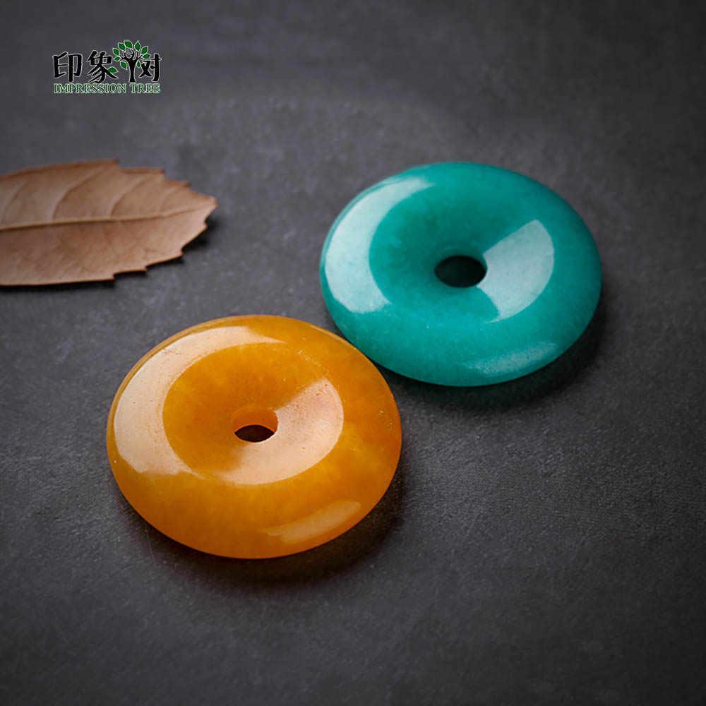 แบนรอบ Smooth Jades จี้ Handmade Cyan สีเหลือง Donut รูปร่างลูกปัด 1 40x8 มม.สร้อยคอสำหรับเครื่องประดับ DIY 18006
