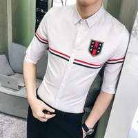 British Style Men Shirt Korean Slim Fit 2018 Summer Casual Mens Shirts Half Sleeve Night Club