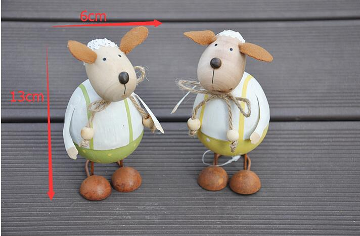 Free shipping,2pcs/lot,Export Pastoral Country Style Wooden Make Old Super Cute Cartoon Little Sheep Decoration Set
