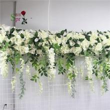 SPR 2 м* 60 см ширина Свадебная маленькая Арка настольная дорожка с цветами цветок настенный сценический фон декоративный искусственный цветок