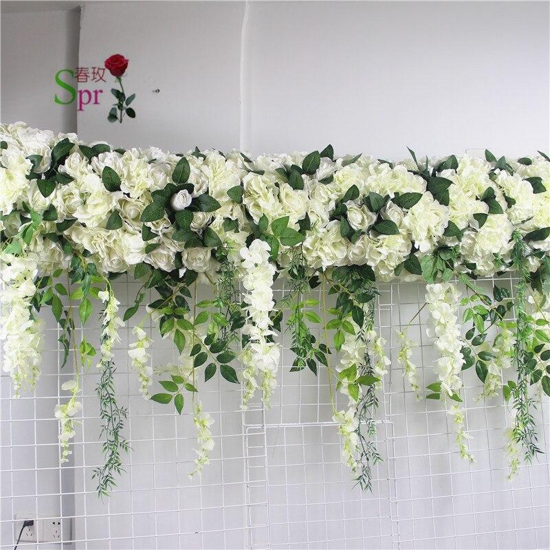 SPR 2 m * 60 cm largeur de mariage petit arc fleur chemin de table fleur mur fond de scène décoratif fleur artificielle en gros