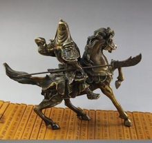 Free shipping Tribal Nice Rare Fine Chinese Bronze Statue Guan Gong & Horse NR Wide Garden Decoration