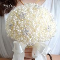 Elegant Romantic Handmade Weaving Pearl Home decoration Wedding Bouquet Flower Crystal Bouquets Roses D479