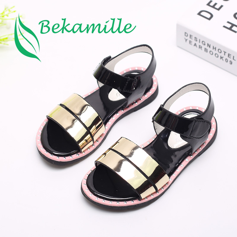 Bekamille New Fashion Solid Color Summer Children Sandals Bright Kids Shoes Girls Sandals Girl Baby Shoes Gold Size 26-30