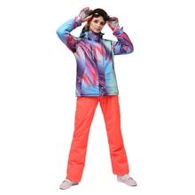 Женский зимний Сноубординг костюмы ветрозащитный женский лыжный костюм водонепроницаемый лыжный комбинезон Женская куртка и брюки для зимней улицы