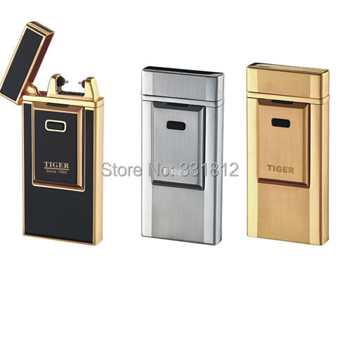 1pc Tiger lighter windproof ultra thin metal pulse charge usb lighter electronic cigarette lighter Free shipping